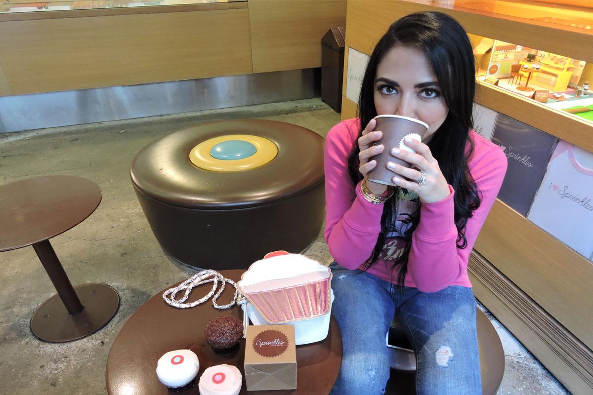 4. drinking coffee